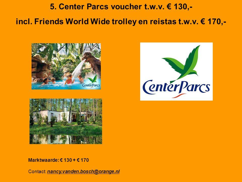 5. Center Parcs voucher t.w.v. € 130,- incl. Friends World Wide trolley en reistas t.w.v.