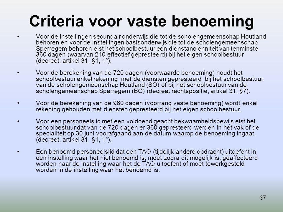 Criteria voor vaste benoeming 37 Voor de instellingen secundair onderwijs die tot de scholengemeenschap Houtland behoren en voor de instellingen basisonderwijs die tot de scholengemeenschap Sperregem behoren eist het schoolbestuur een dienstanciënniteit van tenminste 360 dagen (waarvan 240 effectief gepresteerd) bij het eigen schoolbestuur (decreet, artikel 31, §1, 1°).