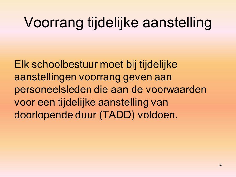 Voorrang tijdelijke aanstelling Elk schoolbestuur moet bij tijdelijke aanstellingen voorrang geven aan personeelsleden die aan de voorwaarden voor een tijdelijke aanstelling van doorlopende duur (TADD) voldoen.