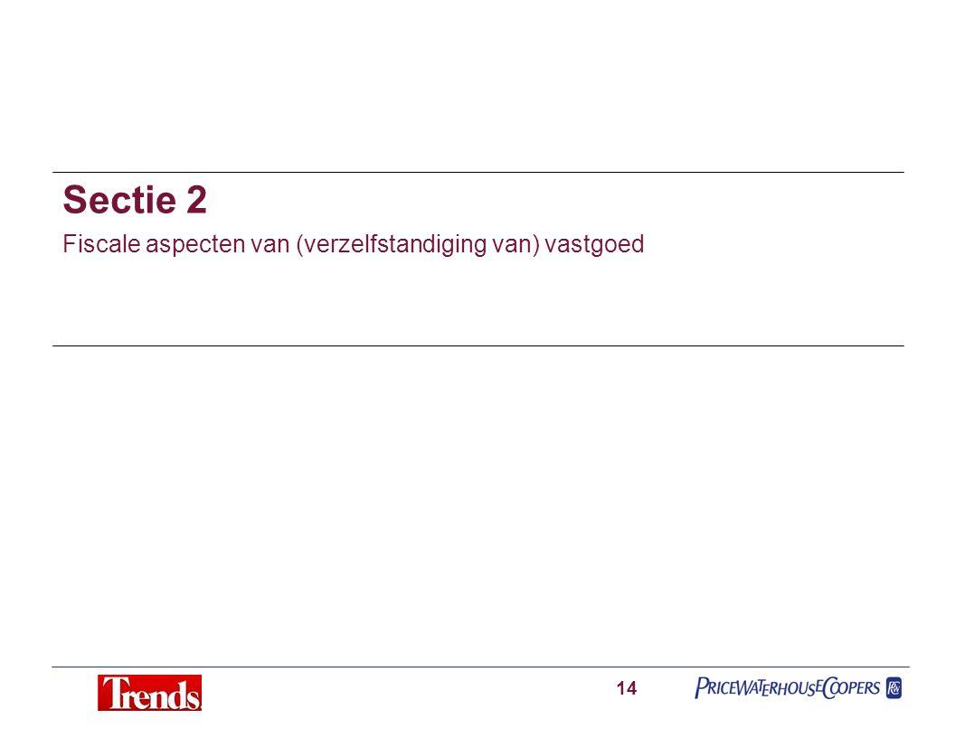 Sectie 2 Fiscale aspecten van (verzelfstandiging van) vastgoed 14