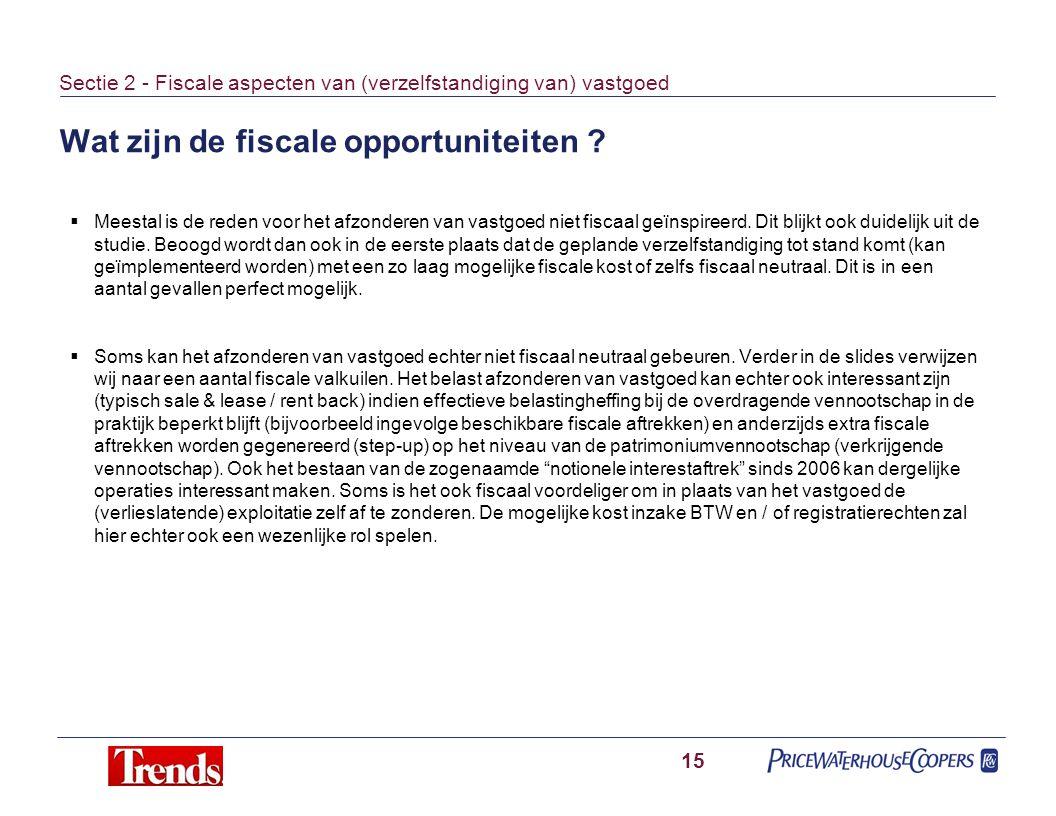 Wat zijn de fiscale opportuniteiten ? 15 Sectie 2 - Fiscale aspecten van (verzelfstandiging van) vastgoed  Meestal is de reden voor het afzonderen va