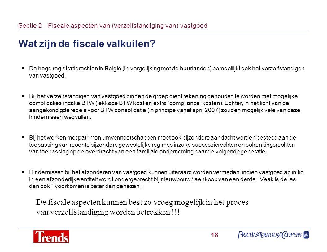 Wat zijn de fiscale valkuilen? 18 Sectie 2 - Fiscale aspecten van (verzelfstandiging van) vastgoed  De hoge registratierechten in België (in vergelij