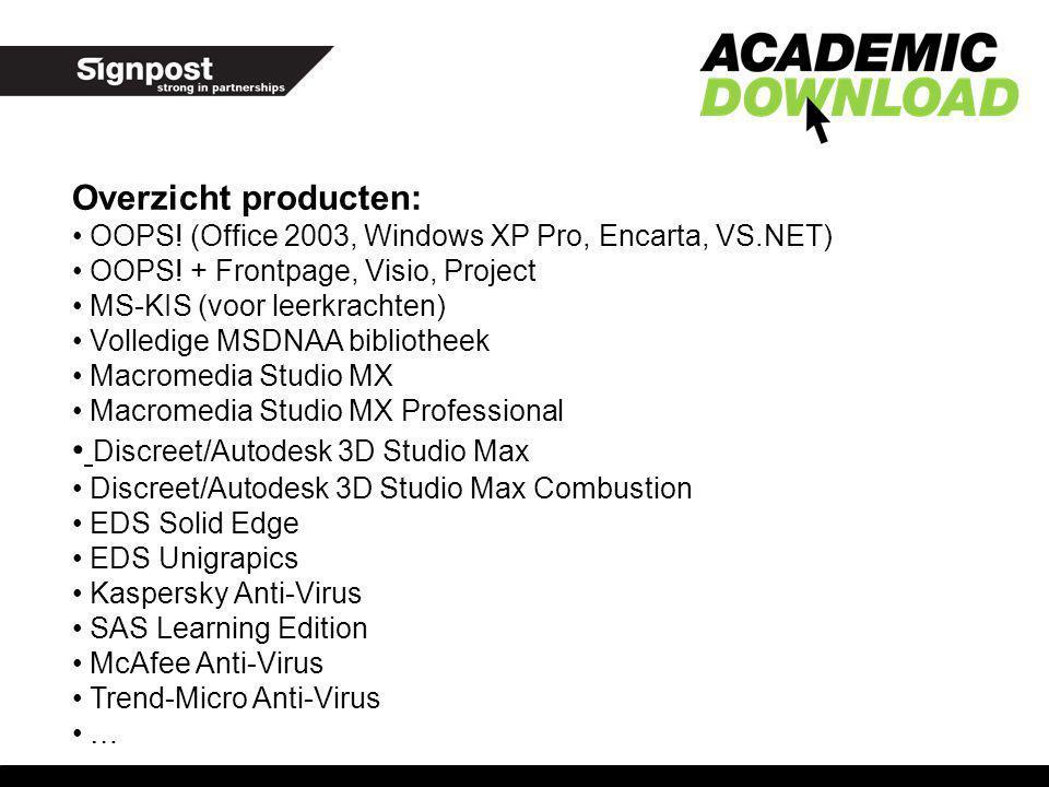 Overzicht producten: OOPS! (Office 2003, Windows XP Pro, Encarta, VS.NET) OOPS! + Frontpage, Visio, Project MS-KIS (voor leerkrachten) Volledige MSDNA