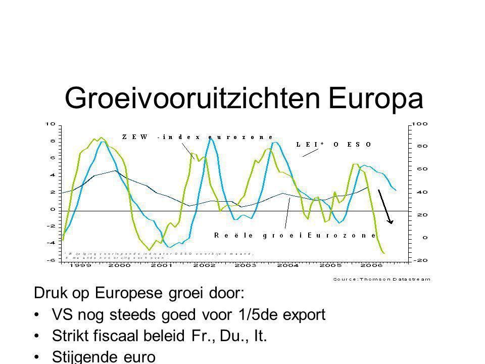 Groeivooruitzichten Europa Druk op Europese groei door: VS nog steeds goed voor 1/5de export Strikt fiscaal beleid Fr., Du., It. Stijgende euro