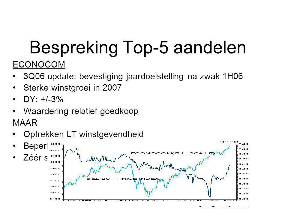 Bespreking Top-5 aandelen ECONOCOM 3Q06 update: bevestiging jaardoelstelling na zwak 1H06 Sterke winstgroei in 2007 DY: +/-3% Waardering relatief goed