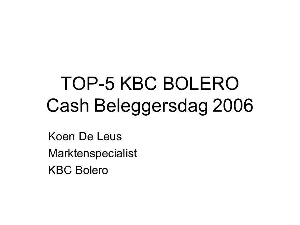 TOP-5 KBC BOLERO PORTEFEUILLE GROEIVOORUITZICHTEN BEURSWAARDERING VIJF TOPAANDELEN & OLIE