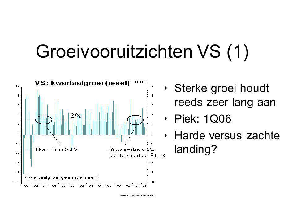 Groeivooruitzichten VS (1) Sterke groei houdt reeds zeer lang aan Piek: 1Q06 Harde versus zachte landing?