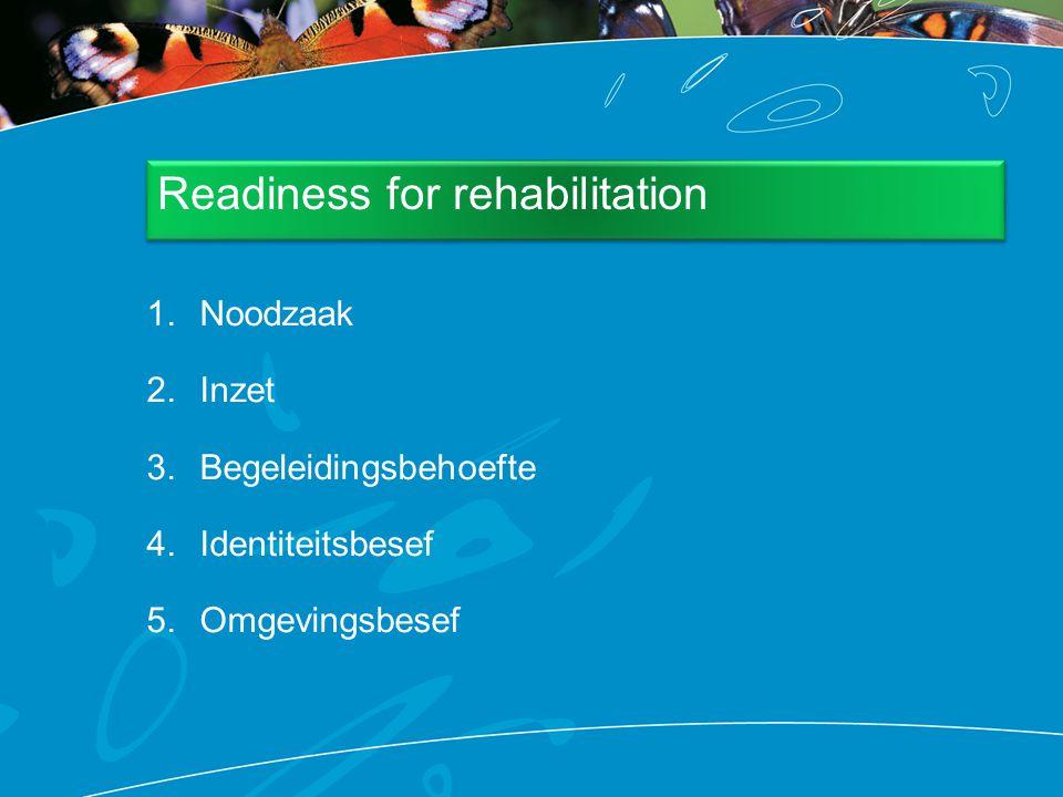 1.Noodzaak 2.Inzet 3.Begeleidingsbehoefte 4.Identiteitsbesef 5.Omgevingsbesef Readiness for rehabilitation