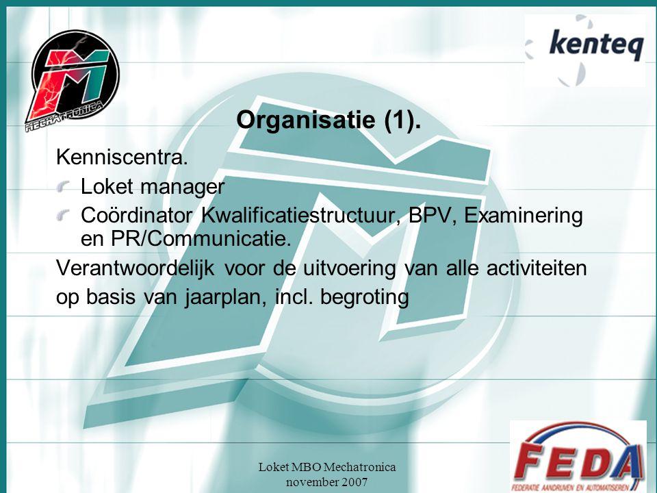 Loket MBO Mechatronica november 2007 Organisatie (1). Kenniscentra. Loket manager Coördinator Kwalificatiestructuur, BPV, Examinering en PR/Communicat