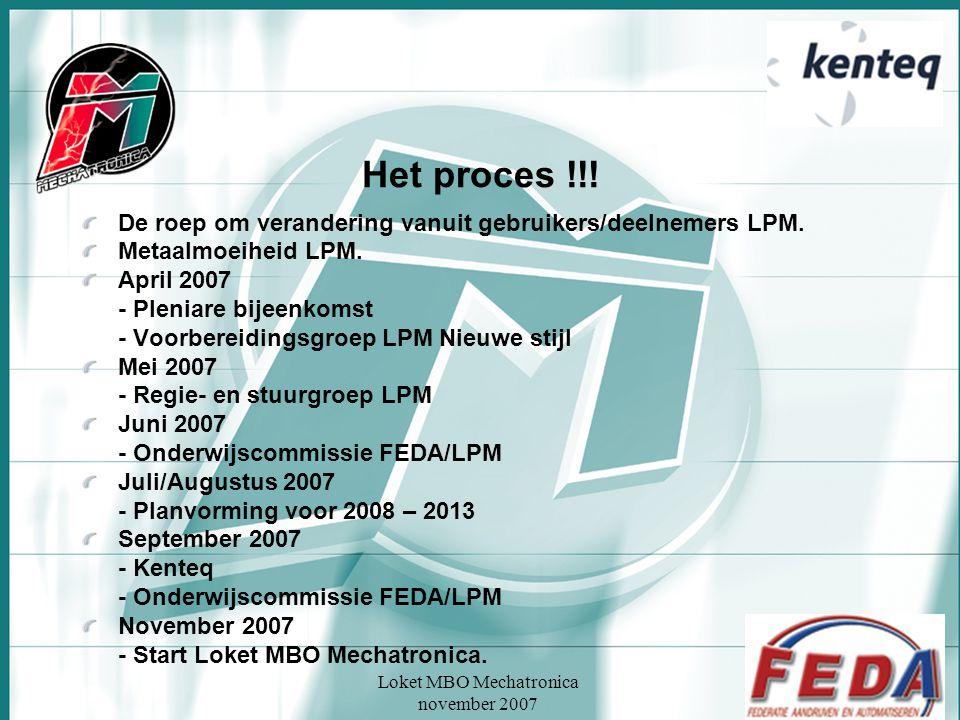 Loket MBO Mechatronica november 2007 Het proces !!! De roep om verandering vanuit gebruikers/deelnemers LPM. Metaalmoeiheid LPM. April 2007 - Pleniare