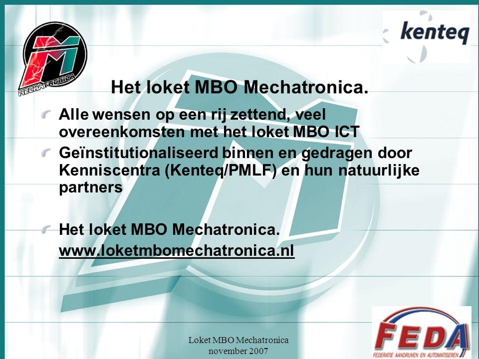 Loket MBO Mechatronica november 2007 Het loket MBO Mechatronica. Alle wensen op een rij zettend, veel overeenkomsten met het loket MBO ICT Geïnstituti
