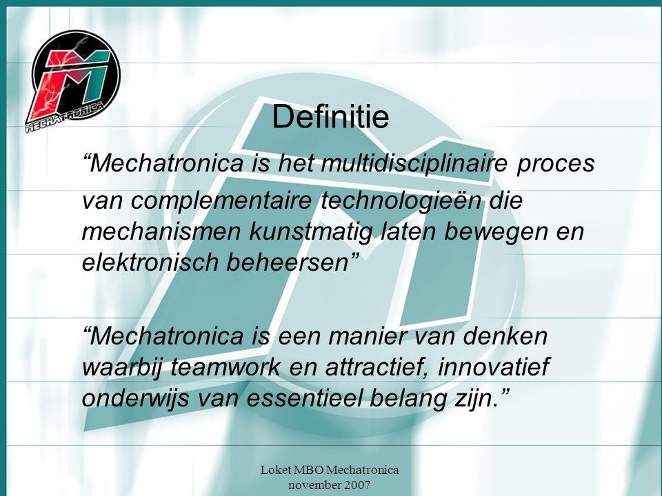 """Loket MBO Mechatronica november 2007 Definitie """"Mechatronica is het multidisciplinaire proces van complementaire technologieën die mechanismen kunstma"""