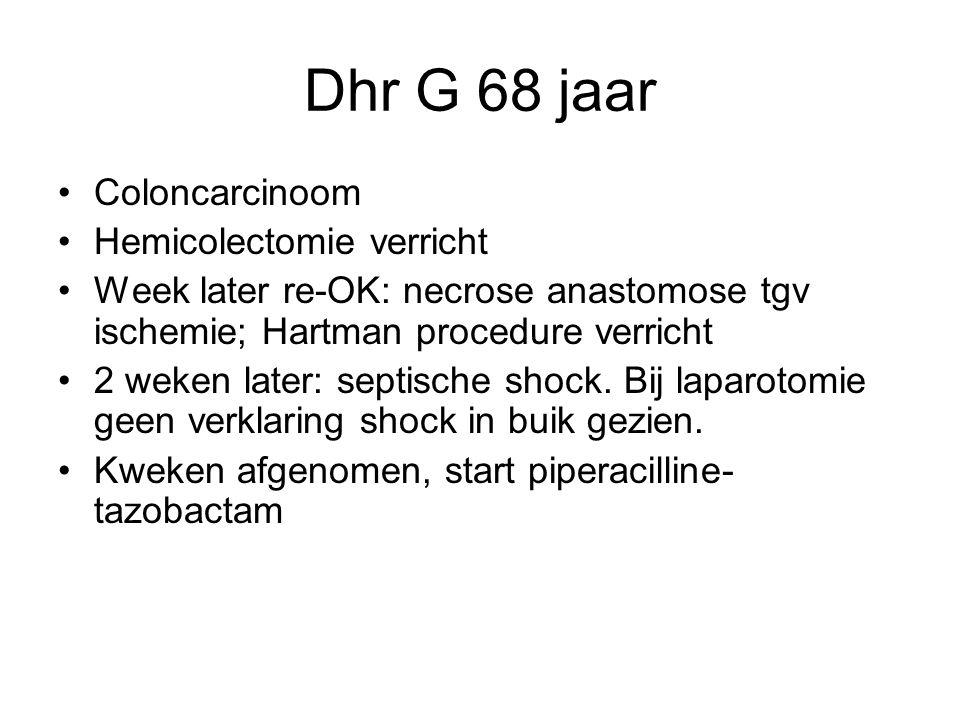 Vervolg casus start amoxicilline 6dd 1 gram naast piperacilline-tazobactam Blijft wat suf Na paar dagen alsnog LP: geen groei Therapieduur 3-6 weken