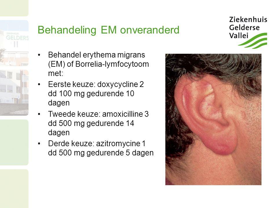 Behandeling EM onveranderd Behandel erythema migrans (EM) of Borrelia-lymfocytoom met: Eerste keuze: doxycycline 2 dd 100 mg gedurende 10 dagen Tweede keuze: amoxicilline 3 dd 500 mg gedurende 14 dagen Derde keuze: azitromycine 1 dd 500 mg gedurende 5 dagen