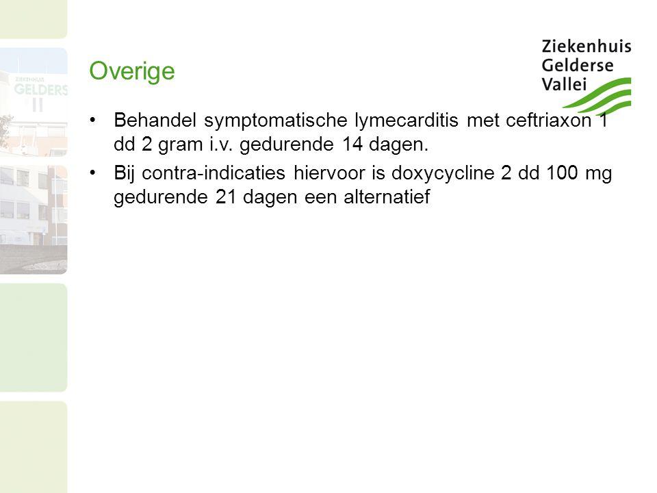 Overige Behandel symptomatische lymecarditis met ceftriaxon 1 dd 2 gram i.v. gedurende 14 dagen. Bij contra-indicaties hiervoor is doxycycline 2 dd 10