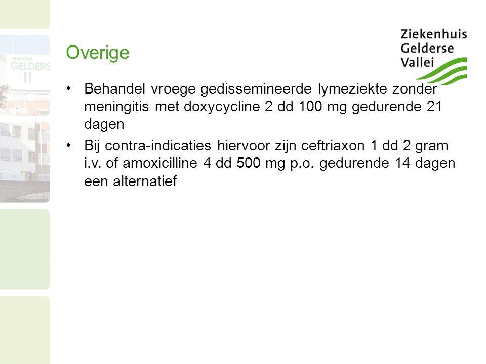 Overige Behandel vroege gedissemineerde lymeziekte zonder meningitis met doxycycline 2 dd 100 mg gedurende 21 dagen Bij contra-indicaties hiervoor zij