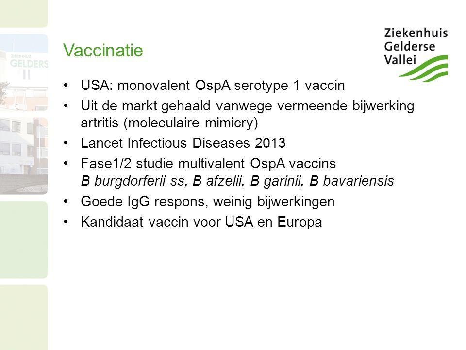 Vaccinatie USA: monovalent OspA serotype 1 vaccin Uit de markt gehaald vanwege vermeende bijwerking artritis (moleculaire mimicry) Lancet Infectious Diseases 2013 Fase1/2 studie multivalent OspA vaccins B burgdorferii ss, B afzelii, B garinii, B bavariensis Goede IgG respons, weinig bijwerkingen Kandidaat vaccin voor USA en Europa