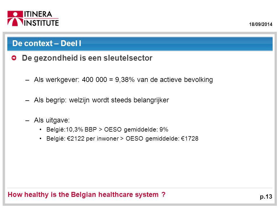 18/09/2014 p.13 De context – Deel I De gezondheid is een sleutelsector –Als werkgever: 400 000 = 9,38% van de actieve bevolking –Als begrip: welzijn wordt steeds belangrijker –Als uitgave: België:10,3% BBP > OESO gemiddelde: 9% België: €2122 per inwoner > OESO gemiddelde: €1728 How healthy is the Belgian healthcare system