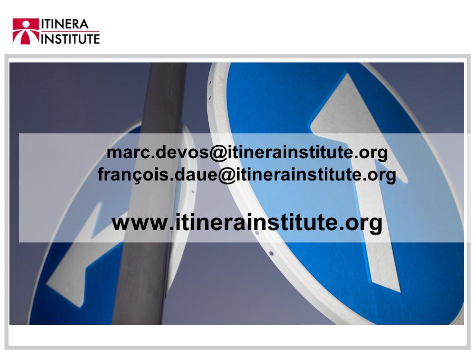marc.devos@itinerainstitute.org françois.daue@itinerainstitute.org www.itinerainstitute.org