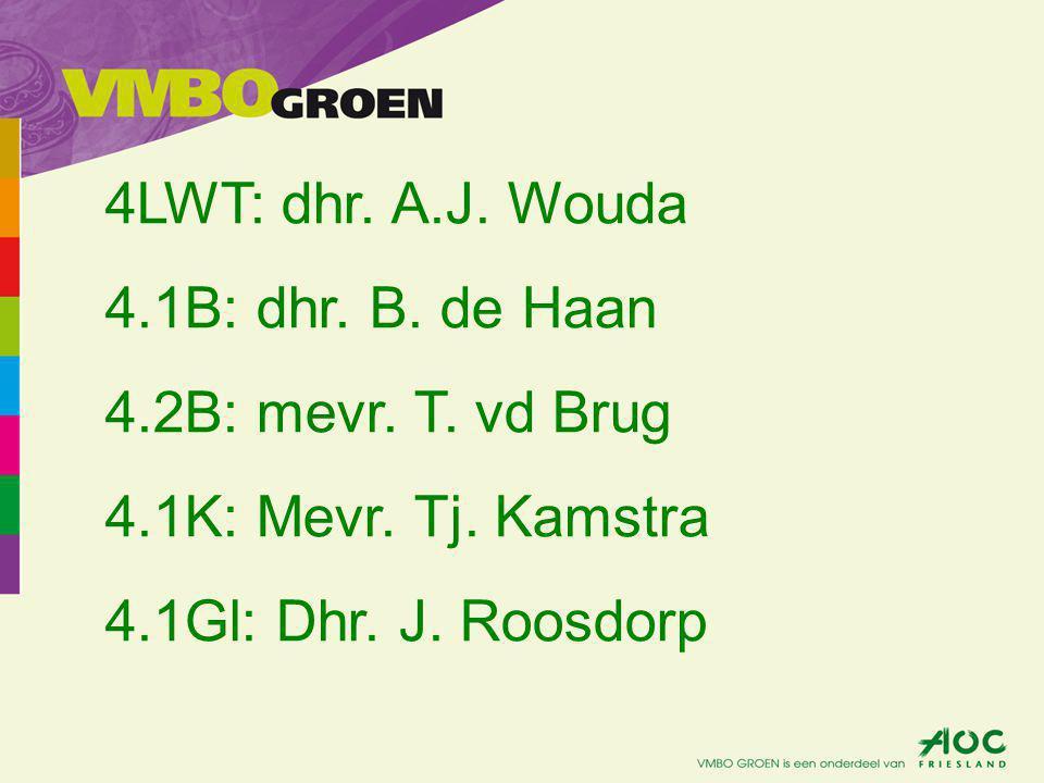4LWT: dhr. A.J. Wouda 4.1B: dhr. B. de Haan 4.2B: mevr.