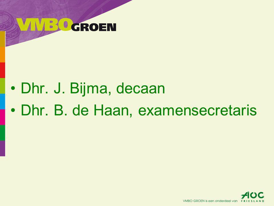 Dhr. J. Bijma, decaan Dhr. B. de Haan, examensecretaris
