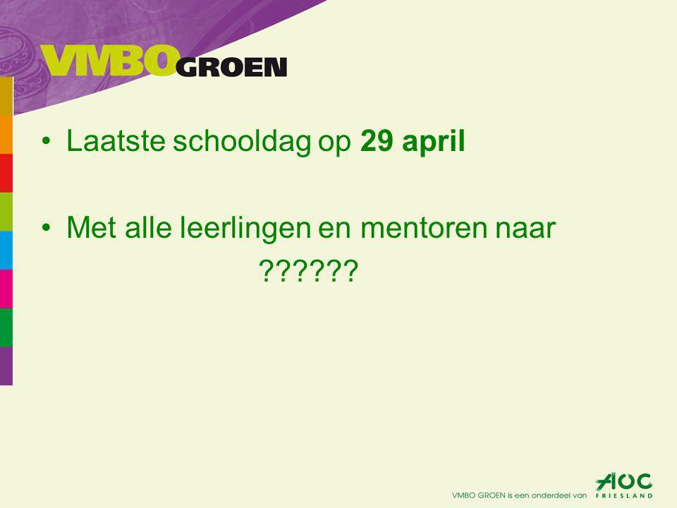 Laatste schooldag op 29 april Met alle leerlingen en mentoren naar