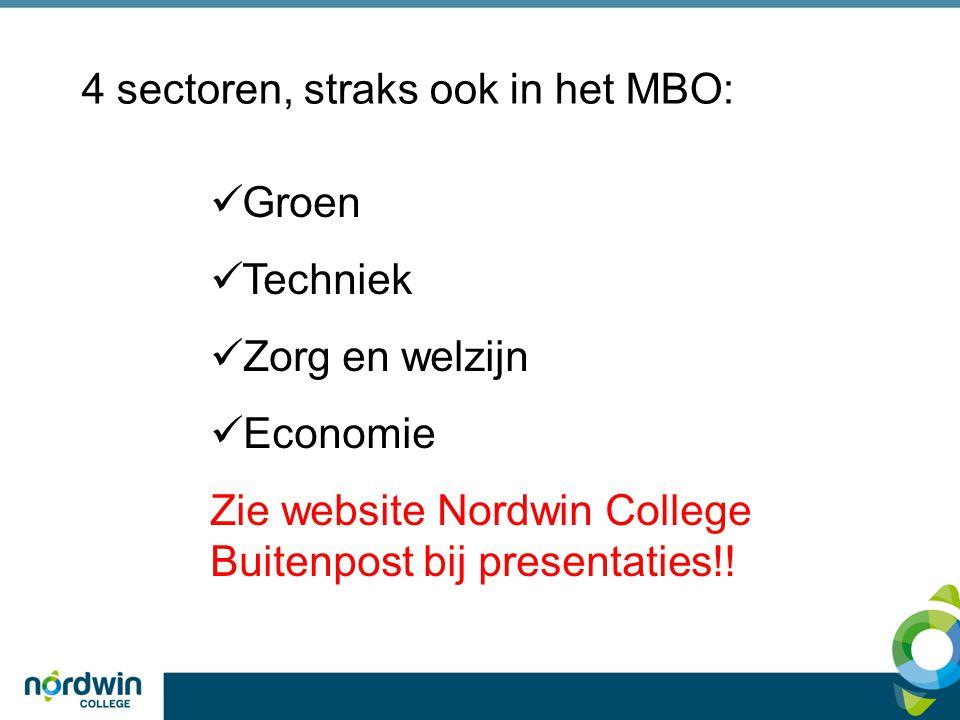 4 sectoren, straks ook in het MBO: Groen Techniek Zorg en welzijn Economie Zie website Nordwin College Buitenpost bij presentaties!!