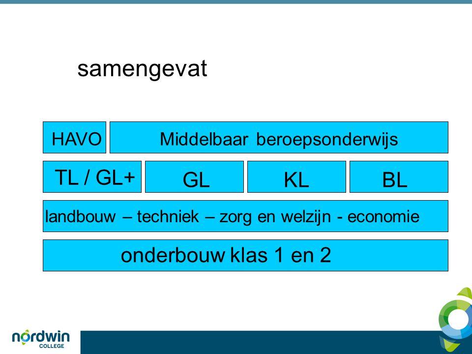 samengevat onderbouw klas 1 en 2 GLKLBL HAVOMiddelbaar beroepsonderwijs landbouw – techniek – zorg en welzijn - economie TL / GL+