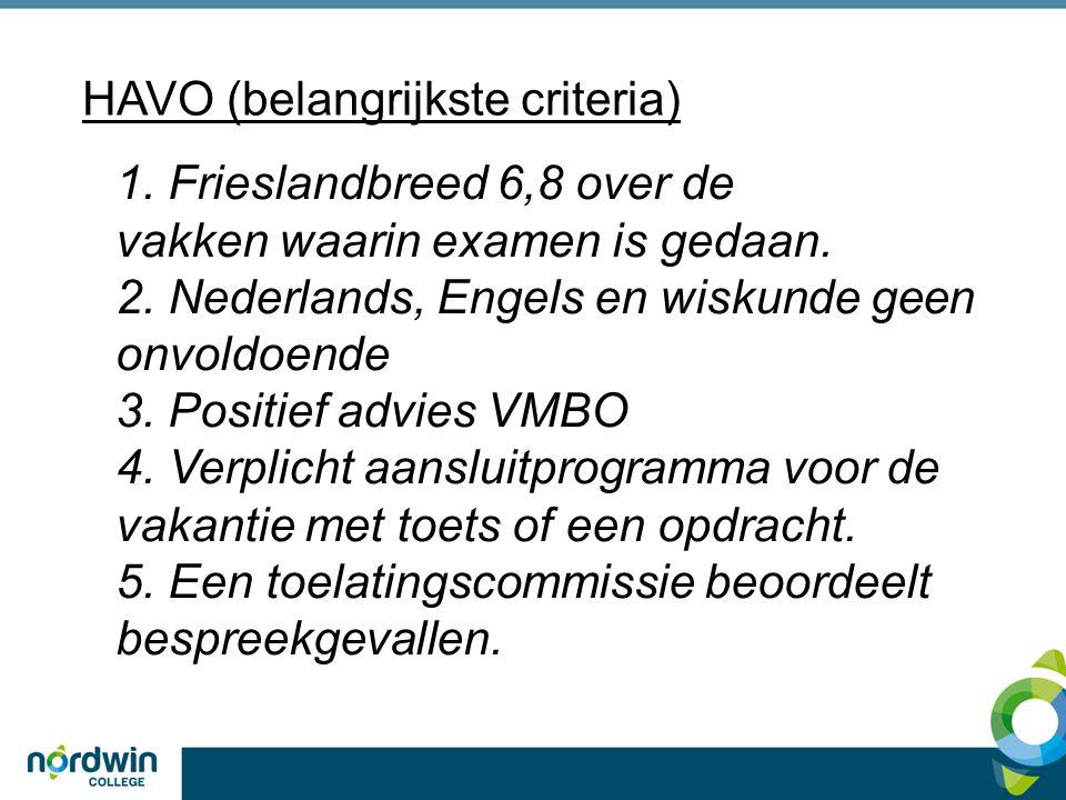HAVO (belangrijkste criteria) 1. Frieslandbreed 6,8 over de vakken waarin examen is gedaan.
