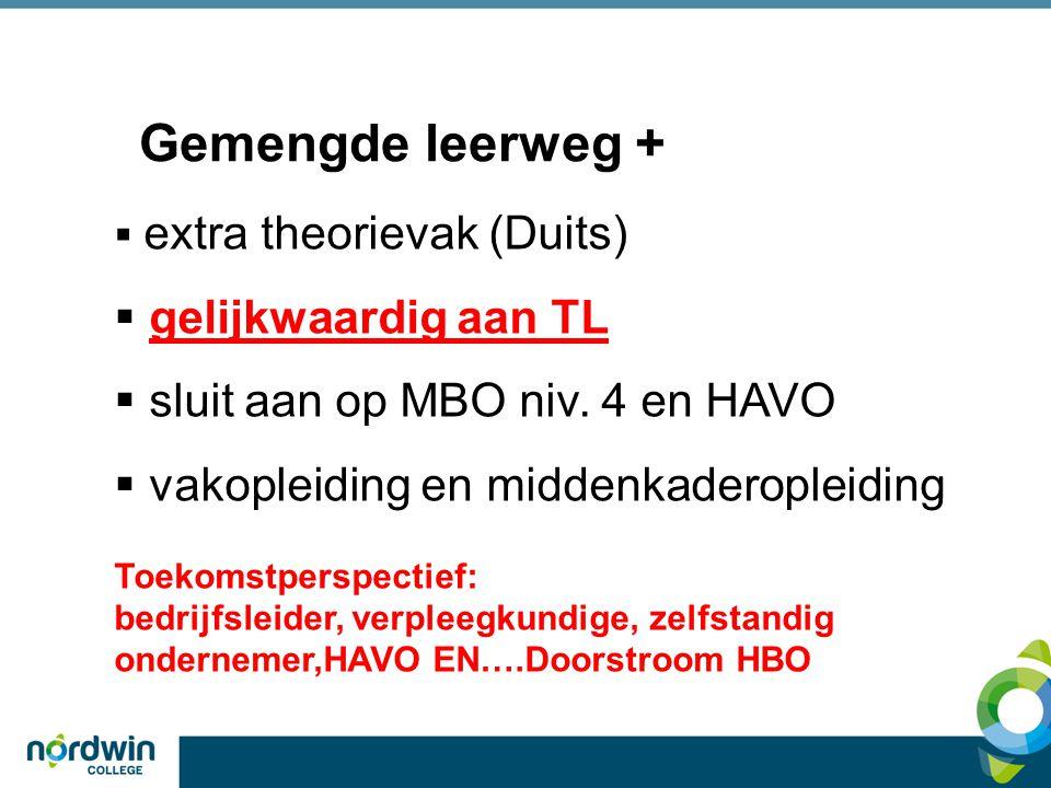 Gemengde leerweg +  extra theorievak (Duits)  gelijkwaardig aan TL  sluit aan op MBO niv.