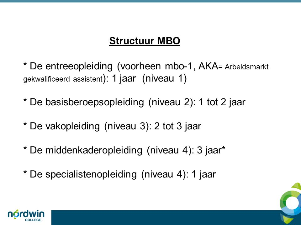 Toelatingseisen Middelbaar beroeps onderwijs (MBO) Niveau 1, 2, 3, 4 4 KL GL 3 KL 2 BL 1 BBL