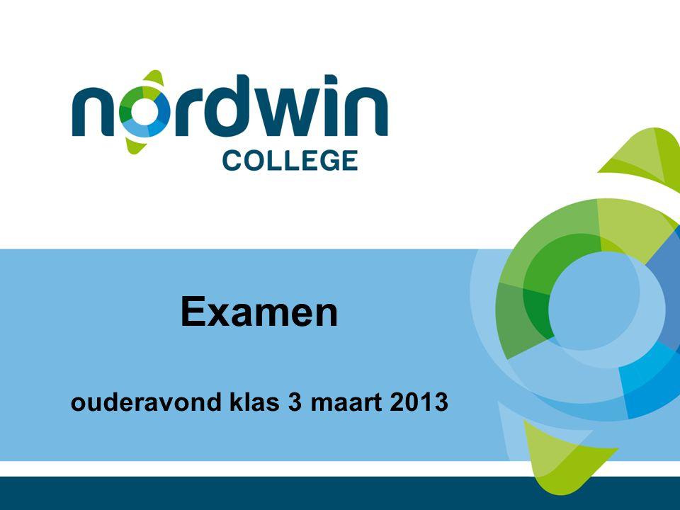 Examen ouderavond klas 3 maart 2013