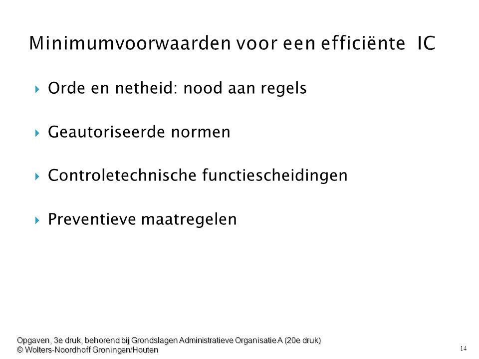 14  Orde en netheid: nood aan regels  Geautoriseerde normen  Controletechnische functiescheidingen  Preventieve maatregelen Opgaven, 3e druk, beho
