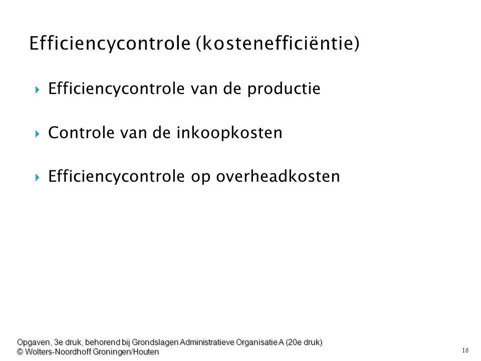 16  Efficiencycontrole van de productie  Controle van de inkoopkosten  Efficiencycontrole op overheadkosten Opgaven, 3e druk, behorend bij Grondsla