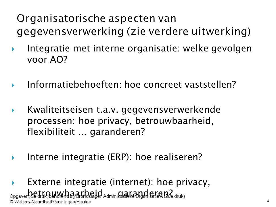 4  Integratie met interne organisatie: welke gevolgen voor AO?  Informatiebehoeften: hoe concreet vaststellen?  Kwaliteitseisen t.a.v. gegevensverw