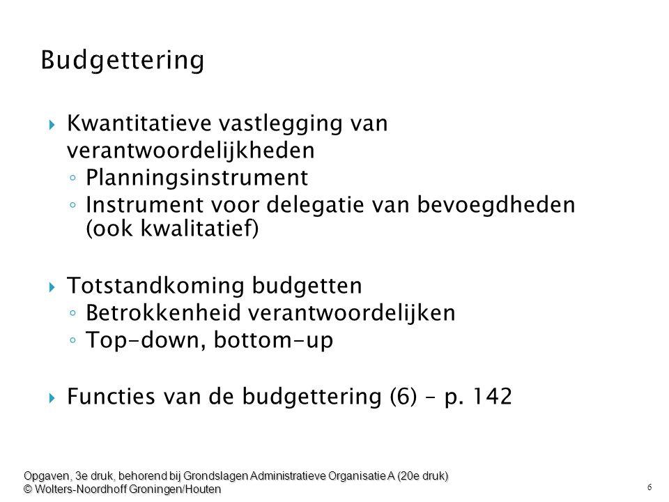 6  Kwantitatieve vastlegging van verantwoordelijkheden ◦ Planningsinstrument ◦ Instrument voor delegatie van bevoegdheden (ook kwalitatief)  Totstan
