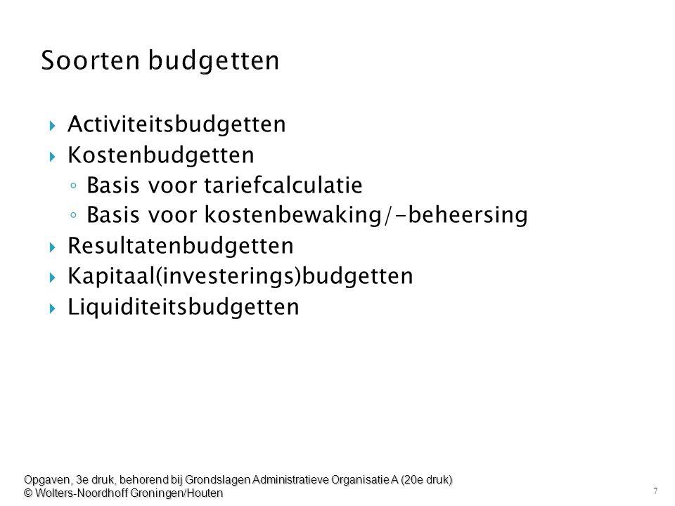 7  Activiteitsbudgetten  Kostenbudgetten ◦ Basis voor tariefcalculatie ◦ Basis voor kostenbewaking/-beheersing  Resultatenbudgetten  Kapitaal(inve