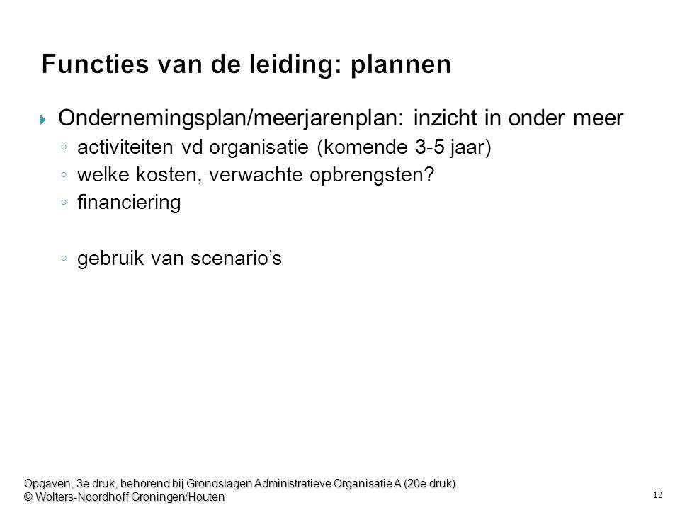 12 Functies van de leiding: plannen  Ondernemingsplan/meerjarenplan: inzicht in onder meer ◦ activiteiten vd organisatie (komende 3-5 jaar) ◦ welke kosten, verwachte opbrengsten.