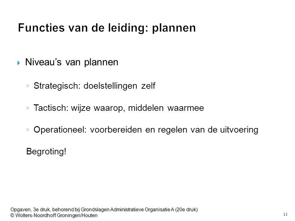 13 Functies van de leiding: plannen  Niveau's van plannen ◦ Strategisch: doelstellingen zelf ◦ Tactisch: wijze waarop, middelen waarmee ◦ Operationeel: voorbereiden en regelen van de uitvoering Begroting.