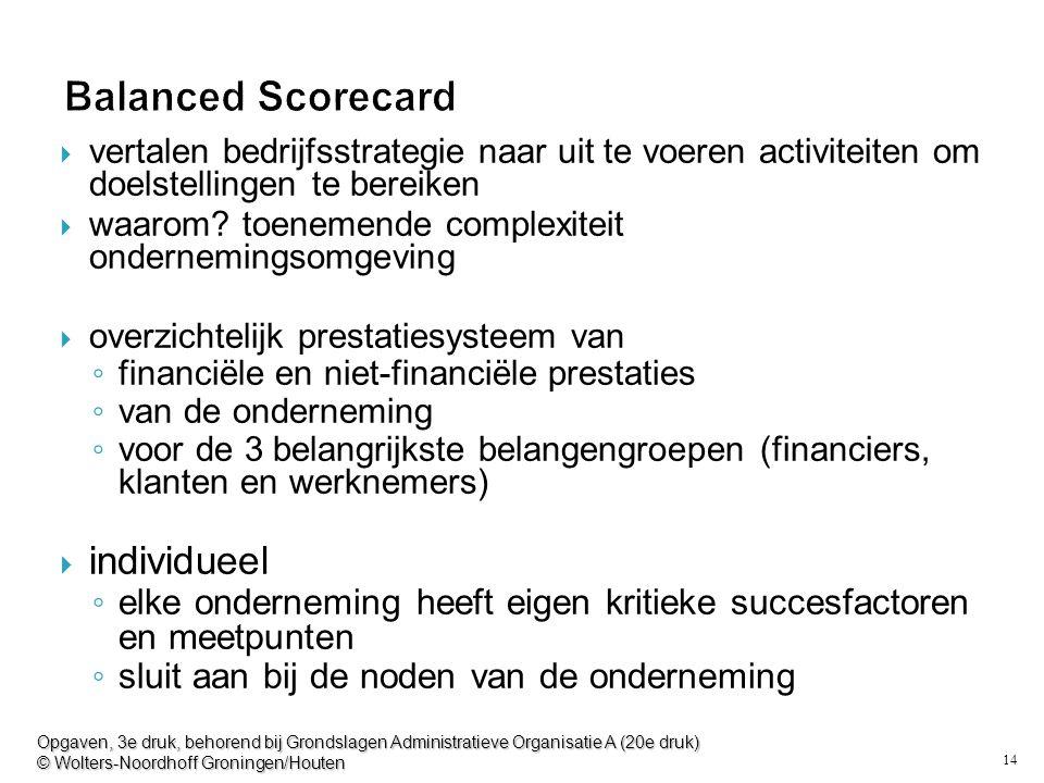 14 Balanced Scorecard  vertalen bedrijfsstrategie naar uit te voeren activiteiten om doelstellingen te bereiken  waarom? toenemende complexiteit ond