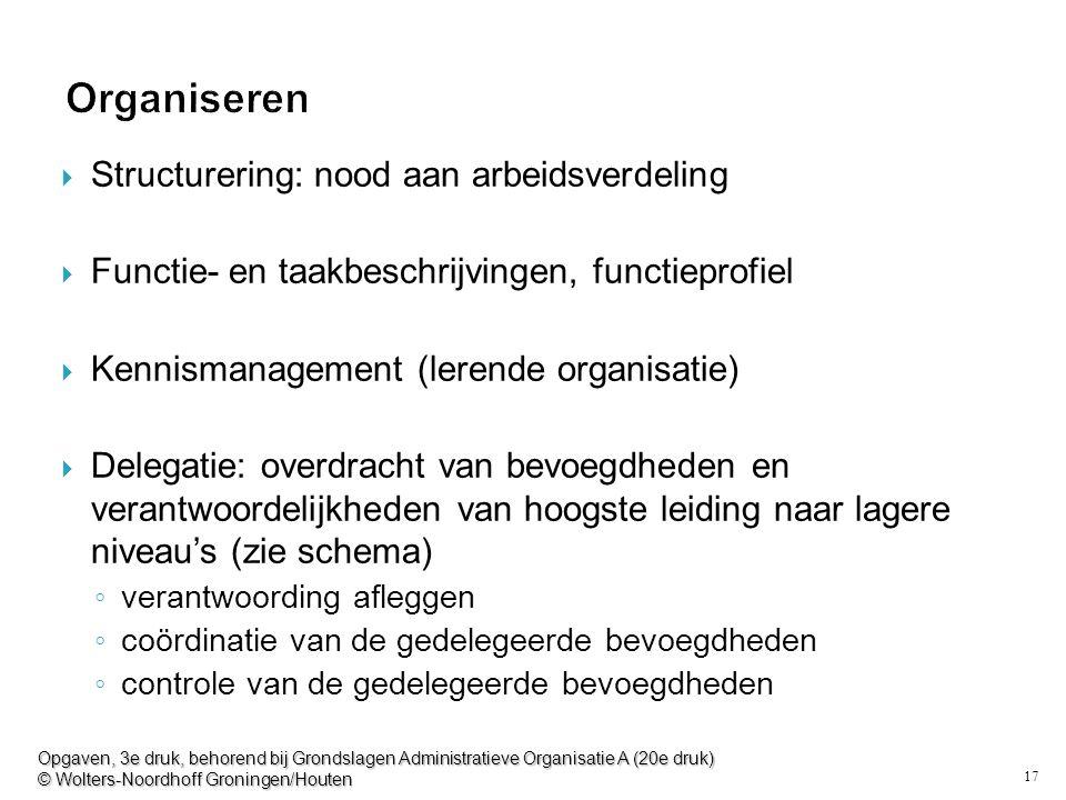17 Organiseren  Structurering: nood aan arbeidsverdeling  Functie- en taakbeschrijvingen, functieprofiel  Kennismanagement (lerende organisatie) 