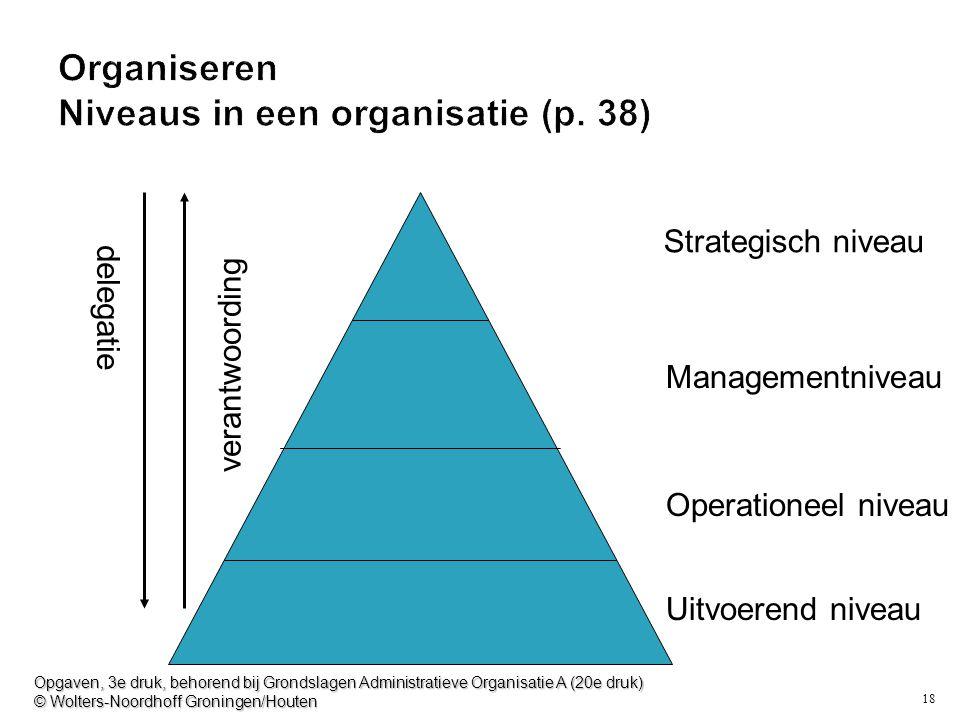 18 Organiseren Niveaus in een organisatie (p. 38) Strategisch niveau Managementniveau Operationeel niveau Uitvoerend niveau delegatie verantwoording O