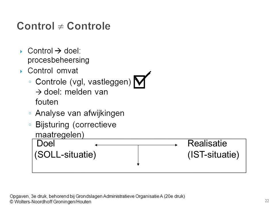 22 Control  Controle  Control  doel: procesbeheersing  Control omvat ◦ Controle (vgl, vastleggen)  doel: melden van fouten ◦ Analyse van afwijkin