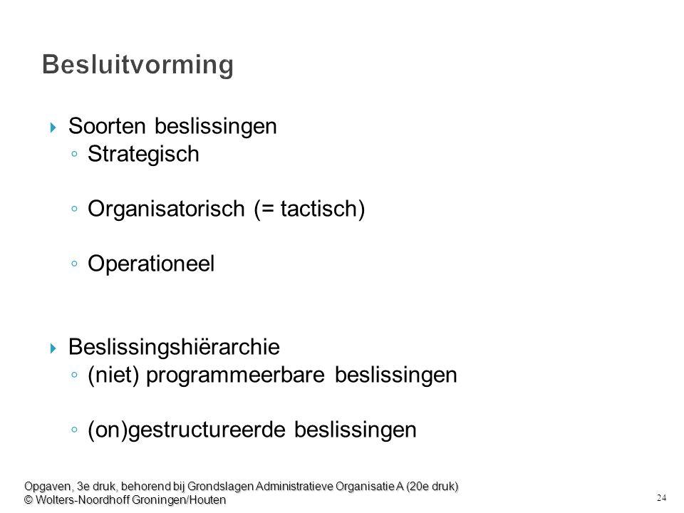 24 Besluitvorming  Soorten beslissingen ◦ Strategisch ◦ Organisatorisch (= tactisch) ◦ Operationeel  Beslissingshiërarchie ◦ (niet) programmeerbare beslissingen ◦ (on)gestructureerde beslissingen Opgaven, 3e druk, behorend bij Grondslagen Administratieve Organisatie A (20e druk) © Wolters-Noordhoff Groningen/Houten