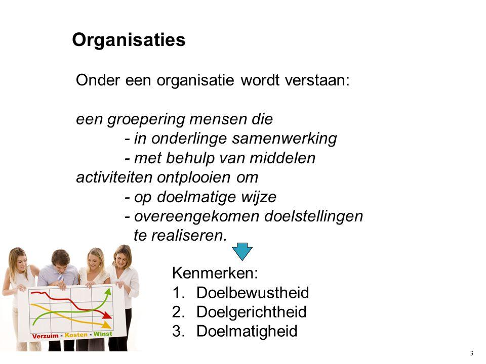 3 Onder een organisatie wordt verstaan: een groepering mensen die - in onderlinge samenwerking - met behulp van middelen activiteiten ontplooien om - op doelmatige wijze - overeengekomen doelstellingen te realiseren.