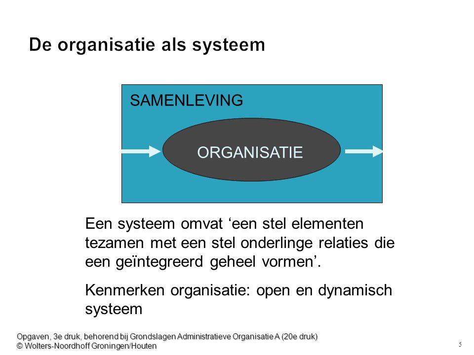 5 De organisatie als systeem SAMENLEVING ORGANISATIE Een systeem omvat 'een stel elementen tezamen met een stel onderlinge relaties die een geïntegree