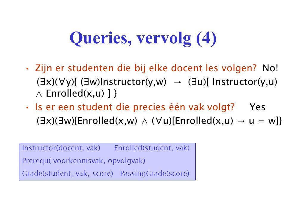 Queries, vervolg (4) Zijn er studenten die bij elke docent les volgen.