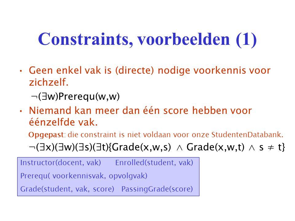 Constraints, voorbeelden (1) Geen enkel vak is (directe) nodige voorkennis voor zichzelf.