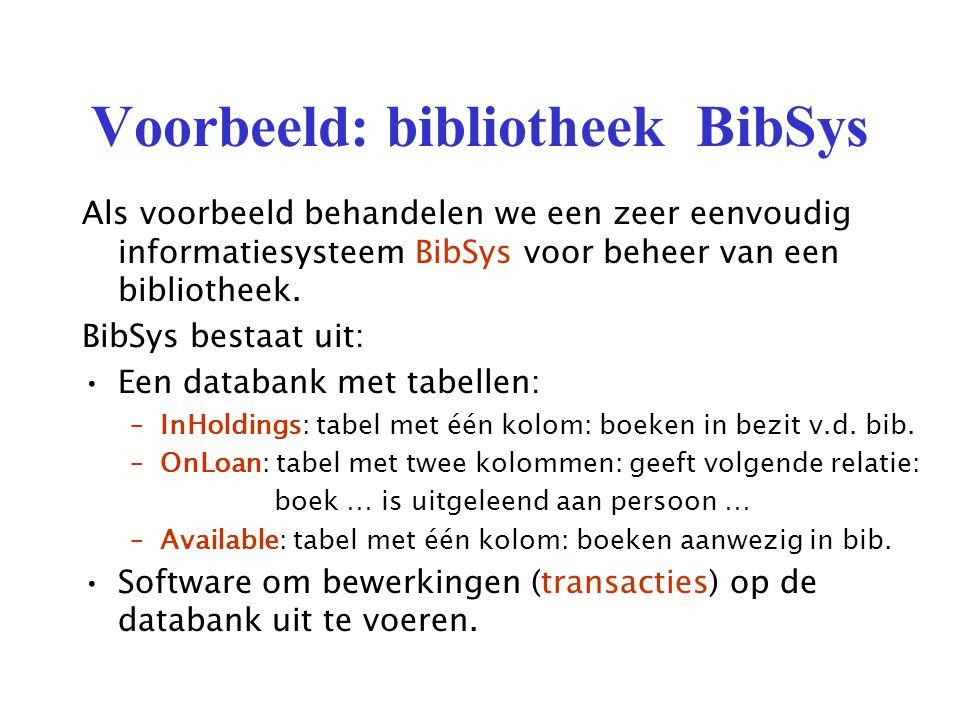 Voorbeeld: bibliotheek BibSys Als voorbeeld behandelen we een zeer eenvoudig informatiesysteem BibSys voor beheer van een bibliotheek.