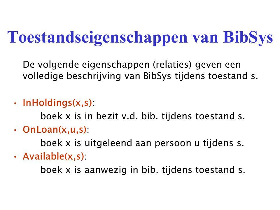 Toestandseigenschappen van BibSys De volgende eigenschappen (relaties) geven een volledige beschrijving van BibSys tijdens toestand s.